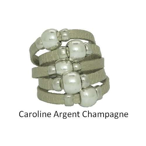CAROLINE MONEY: leather and metal ring baguecuircarolineargentchampagne