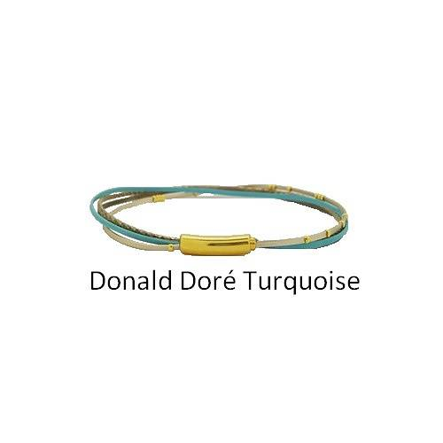 Donald Doré: Choker leather neck collierdonalddoreturquoise