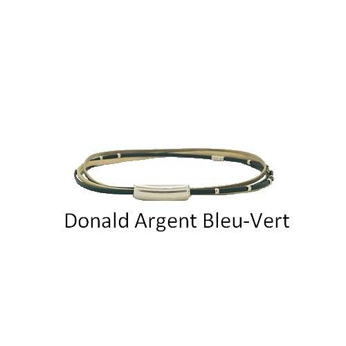 Donald Silver: Choker leather neck collierdonaldargentbleuvert