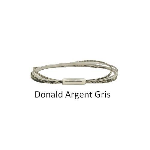 Donald Silver: Choker leather neck collierdonaldargentgris