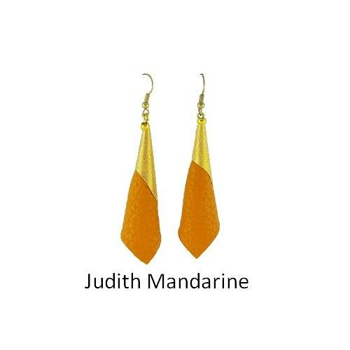 Judith: Earrings leather bouclesdoreillesjudithmandarine