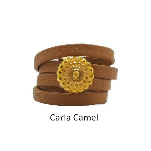 Carla: Leather ring baguecarlacamel