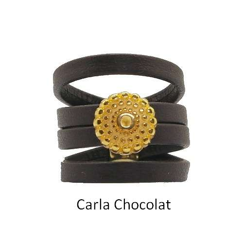 Carla: Leather ring baguecarlachocolat